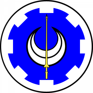 Azure, a crescent argent and overall a lance Or, a bordure embattled argent.