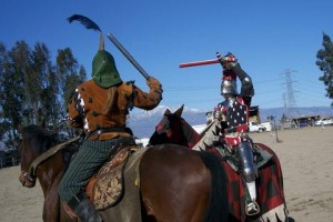Mounted Crest Combat Pictured Baron Conall vs. Duke John